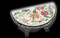 White mosaic table